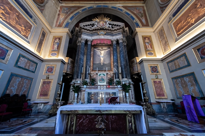 Basilika Santo Laurensius di Lucina (apse). Basilika Santo Laurensius di Lucina adalah milik Kementerian Dalam Negeri Italia. © Antoine Mekary | ALETEIA