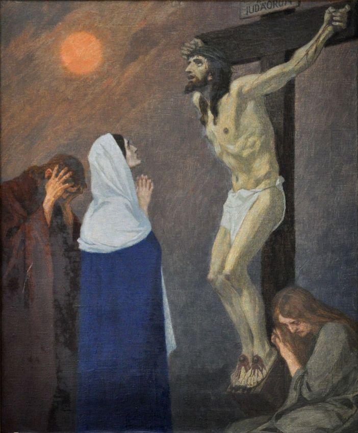 "Stasi 12: Yesus wafat di Kayu Salib. ""Engkau sekarat, Yesusku, tetapi Hati Kudus-Mu masih berdenyut dengan cinta demi anak-anak-Mu yang berdosa."" © Domain Publik"