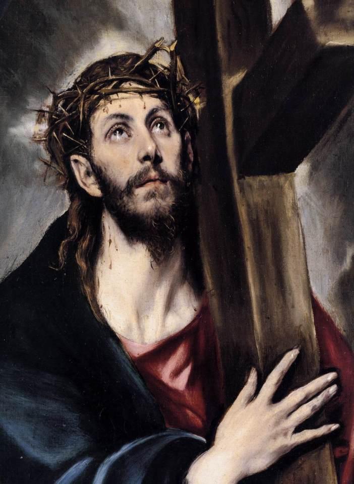 """Stasi 2: Yesus memanggul salib. """"Yesusku, Salib ini seharus adalah salibku, bukan salib-Mu; dosa-dosaku yang menyalibkan Engaku."""" © Domain Publik"""