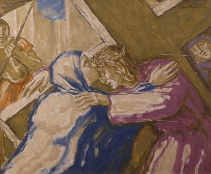 "Stasi 4: Yesus berjumpa dengan ibu-Nya. ""O Yesus! Semoga tidak ada ikatan manusiawi, betapapun disayangi, jauhkan saya dari mengikuti jalan Salib."" © Domain Publik"
