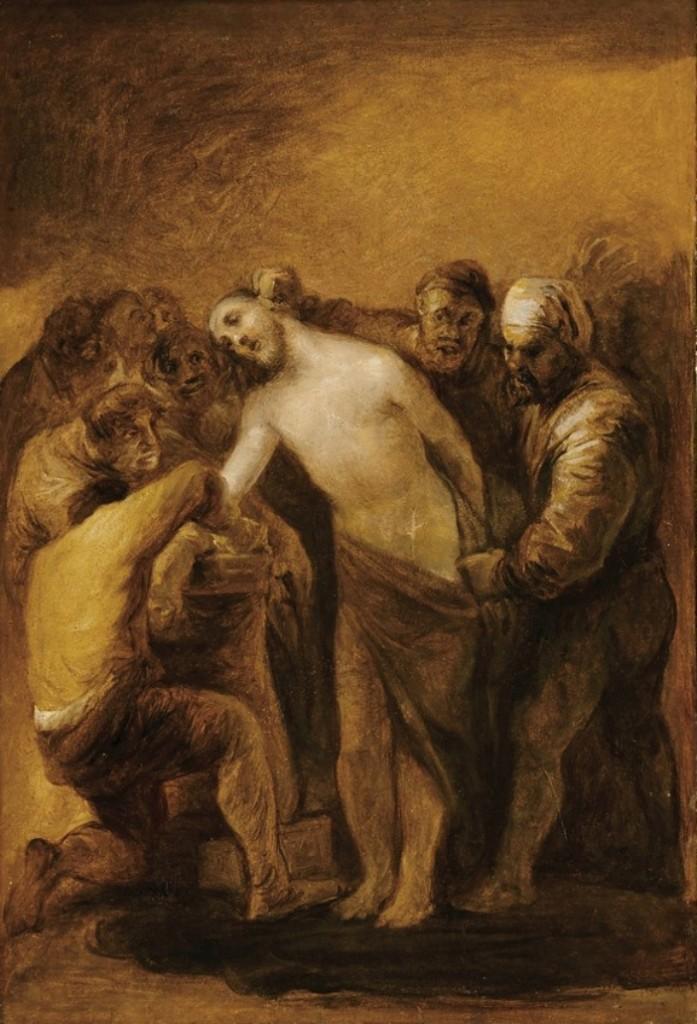 """Stasi 10: Pakaian Yesus ditanggalkan. """"Jiwaku telah dirampok dari jubah kepolosannya; kenakan aku, Yesus terkasih, dengan pakaian penebusan dosa dan penyesalan."""" © Domain Publik"""