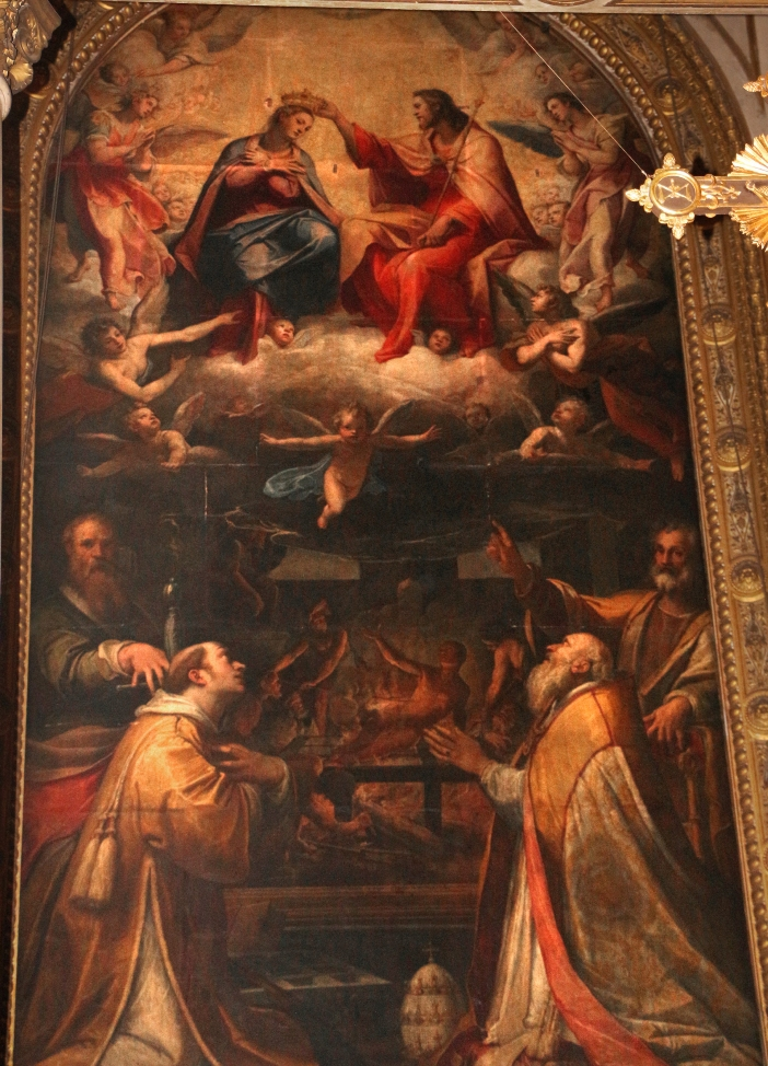 Basilika Santo Laurensius di Damaso. Altar tersebut menggambarkan Santo Laurensius, Santo Paus Damasus I, dan para rasul Santo Petrus dan Paulus, yang menyaksikan penobatan Perawan Maria. © Sailko (CC BY 3. 0) melalui Wikimedia Commons