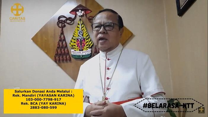 Ketua KWI Ignatius Kardinal Suharyo dan nomor rekening untuk donasi bagi Nusa Tenggara (PEN@ Katolik/pcp/screenshot)
