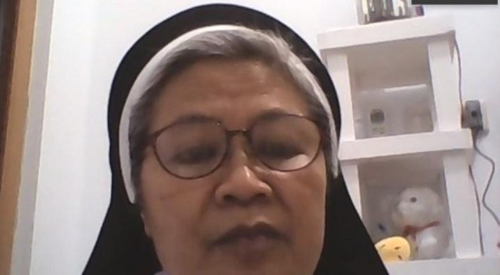 Sekretaris Sekretariat Gender dan Pemberdayaan Perempuan KWI  Suster Maria Natalia OP dalam  Konferensi Pers (PEN@ Katolik/pcp/screenshot)