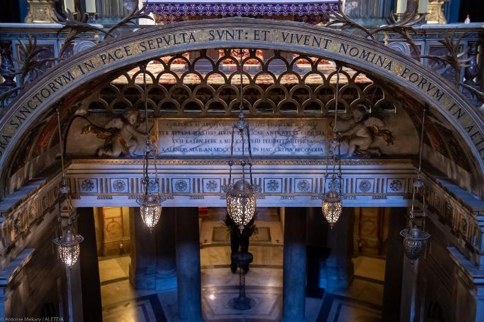 Basilika 12 Rasul Suci. Ruang bawah tanah dibangun pada akhir abad ke-19. Basilika 12 Rasul Suci adalah milik Kementerian Dalam Negeri Italia © Antoine Mekary   ALETEIA