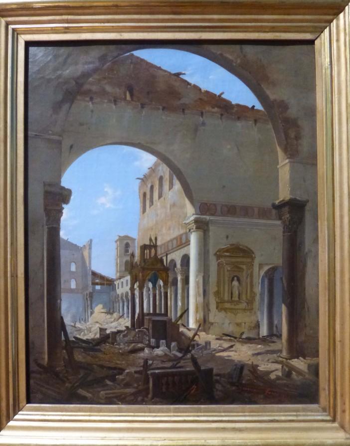 Basilika Santo Paulus di Luar Tembok setelah dihancurkan oleh api, digambarkan dalam lukisan oleh Jean Faure (1823). © Galleria Nazionale d'Arte Moderna e Contemporanea CC BY-SA 4.0, melalui Wikimedia Commons