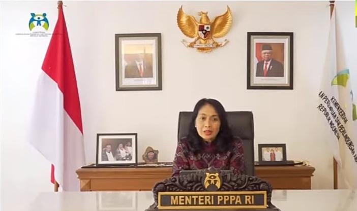 Menteri Pemberdayaan Perempuan dan Perlindungan Anak RI Bintang Puspayoga mengingatkan sumbangsih perempuan yang dicontohkan oleh RA Kartini (PEN@ Katolik/screenshot)