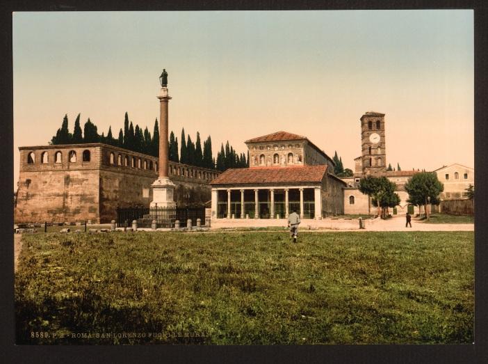 Pemandangan basilika Santo Laurensius di Luar Tembok pada akhir abad ke-19. © Perpustakaan Kongres - Koleksi Cetak Photochrom, Domain publik, melalui Wikimedia Commons