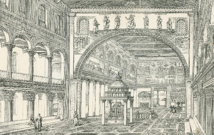 Basilika Santo Laurensius dii Luar Tembok dengan ukiran abad ke-19. Di atas baldacchino ada lengkungan yang pada satu titik adalah lengkungan apsidal, dan yang sekarang menandai pintu masuk ke pastoran, dengan reproduksi dari mozaik abad ke-6. © Domain Publik