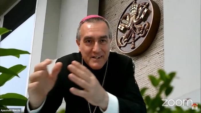 Duta Besar Vatikan untuk Indonesia Mgr Piero Pioppo memberi tiga formasi (pembinaan) untuk orang muda yakni formasi kebenaran, formasi cinta dan formasi konsistensi (PEN@ Katolik/pcp/screenshot)