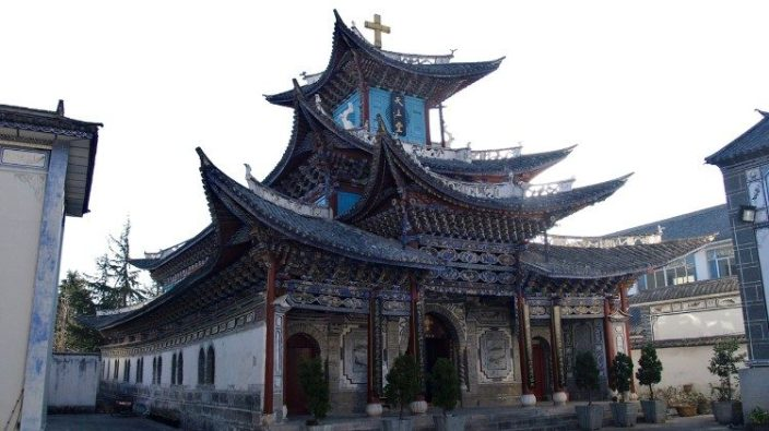 Gereja Katolik di kota Dali, Cina