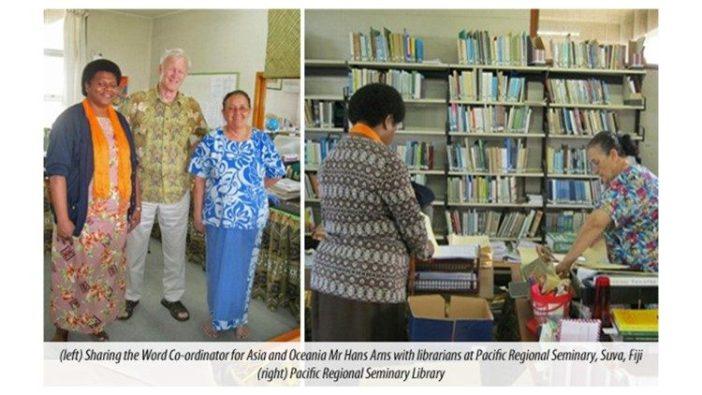 Hans Arns dengan pustakawan di Seminari Regional Pasifik di Fiji