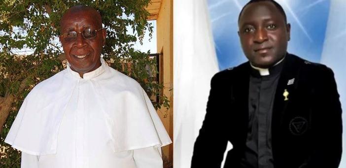 Pastor Joe Keke, kiri, masih hilang. Pastor Alphonsus Bello, kanan, dibunuh pada usia 33. KEUSKUPAN SOKOTO